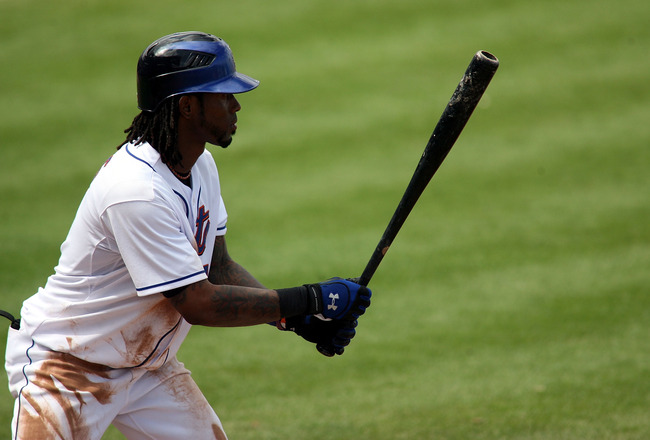 PORT ST. LUCIE, FL - MARCH 03:  Shortstop Jose Reyes #7 of the New York Mets bats against the St. Louis Cardinals stealing second base at Digital Domain Park on March 3, 2011 in Port St. Lucie, Florida.  (Photo by Marc Serota/Getty Images)