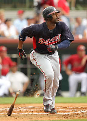 KISSIMMEE, FL - MARCH 01:  Jason Heyward #22 of the Atlanta Braves hits a 2nd inning double during a Spring Training game against the Houston Astros at Osceola County Stadium on March 1, 2011 in Kissimmee, Florida.  (Photo by Mike Ehrmann/Getty Images)