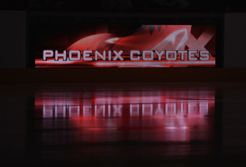 GLENDALE, AZ - SEPTEMBER 14:  The Phoenix Coyotes logo is displayed on ice before the NHL Rookie game against the Los Angeles Kings at Jobing.com Arena on September 14, 2010 in Glendale, Arizona.  (Photo by Christian Petersen/Getty Images)