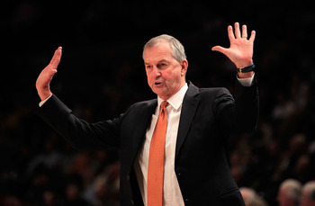 NEW YORK, NY - MARCH 10:  Head coach Jim Calhoun of the Connecticut Huskies gestures from the bench against the Pittsburgh Panthers during the quarterfinals of the 2011 Big East Men's Basketball Tournament presented by American Eagle Outfitters  at Madiso