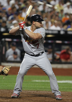 NEW YORK - JULY 27:  Matt Holliday #7 of the St. Louis Cardinals in action against the New York Mets during their game on July 27, 2010 at Citi Field in the Flushing neighborhood of the Queens borough of New York City.  (Photo by Al Bello/Getty Images)