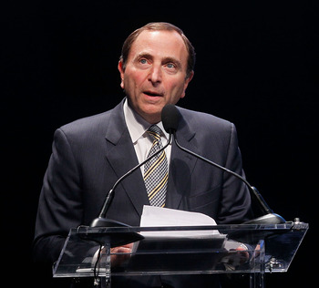 BOSTON - OCTOBER 17: 2010 Gary Bettman, the commissioner of the NHL,  speaks during a Celebration of Lester Patrick at TD Garden on October 27, 2010 in Boston, Massachusetts. NOTE TO USER: User expressly acknowledges and agrees that, by downloading and or