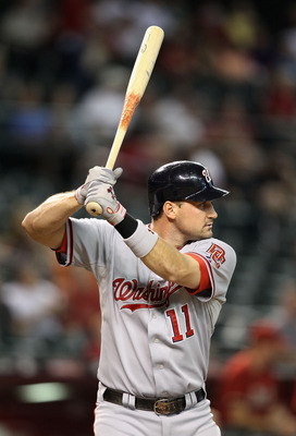 PHOENIX - AUGUST 04:  Ryan Zimmerman #11 of the Washington Nationals at bat during the Major League Baseball game against the Arizona Diamondbacks at Chase Field on August 4, 2010 in Phoenix, Arizona. The Nationals defeated the Diamondbacks 7-2.  (Photo b