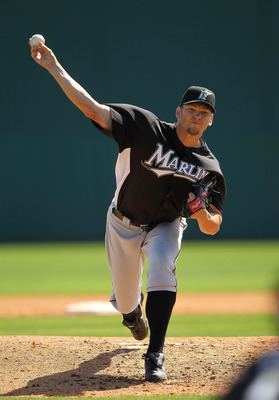 VIERA, FL - MARCH 02:  Josh Johnson #55  of the Florida Marlins pitches during a Spring Training game against the Washington Nationals at Space Coast Stadium on March 2, 2011 in Viera, Florida.  (Photo by Mike Ehrmann/Getty Images)