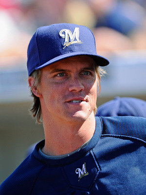 PHOENIX, AZ - MARCH 10:  Pitcher Zack Greinke #13  of the Milwaukee Brewers  during the spring training baseball game against Colorado Rockies at Maryvale Baseball Park on March 10, 2011 in Phoenix, Arizona.  (Photo by Kevork Djansezian/Getty Images)