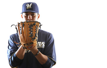 MARYVALE, AZ - FEBRUARY 24:  Yovani Gallardo #49 of the Milwaukee Brewers poses for a portrait during Spring Training Media Day on February 24, 2011 at Maryvale Stadium in Maryvale, Arizona.  (Photo by Jonathan Ferrey/Getty Images)