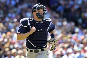 DENVER - APRIL 09:  Catcher Nick Hundley #4 of the San Diego Padres heads to firstbase to back up a play against the Colorado Rockies during MLB action on Opening Day at Coors Field on April 9, 2010 in Denver, Colorado. The Rockies defeated the Padres 7-0