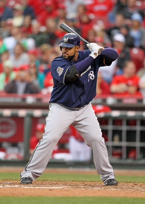 CINCINNATI - MAY 18:  Prince Fielder #28 of the Milwaukee Brewers is at bat during the game against the Cincinnati Reds at Great American Ball Park on May 18, 2010 in Cincinnati, Ohio.  (Photo by Andy Lyons/Getty Images)