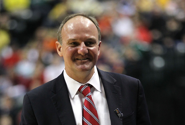 INDIANAPOLIS, IN - MARCH 11:  Head coach Thad Matta of the Ohio State Buckeyes smiles against the Northwestern Wildcats during the quarterfinals of the 2011 Big Ten Men's Basketball Tournament at Conseco Fieldhouse on March 11, 2011 in Indianapolis, India