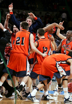 OKLAHOMA CITY - MARCH 18:  The Bucknell Bison celebrate their upset against the Kansas Jayhawks during the first round of the NCAA Men's Basketball Championship on March 18, 2005 at the Ford Center in Oklahoma City, Oklahoma.  Bucknell knocked off No. 3 s