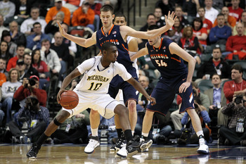 INDIANAPOLIS, IN - MARCH 11:  Tim Hardaway Jr. #10 of the Michigan Wolverines drives against the Illinois Fighting Illini during the quarterfinals of the 2011 Big Ten Men's Basketball Tournament at Conseco Fieldhouse on March 11, 2011 in Indianapolis, Ind