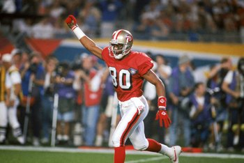 MIAMI - JANUARY 29:  Wide receiver Jerry Rice #80 of the San Francisco 49ers celebrates during Super Bowl XXIX against the San Diego Chargers at Joe Robbie Stadium on January 29, 1995 in Miami, Florida.  The 49ers won 49-26. (Photo by George Rose/Getty Im