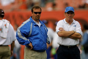 23 Sep 2001:  Head coach Marty Mornhinweg of the Detroit Lions looks on during the game against the Cleveland Browns at Cleveland Browns Stadium in Cleveland, Ohio. The Browns won 24-14. DIGITAL IMAGE. Mandatory Credit: Tom Pidgeon/Allsport