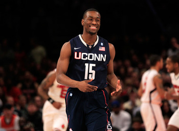 NEW YORK, NY - MARCH 12:  Kemba Walker #15 of the Connecticut Huskies reacts after a play against the Louisville Cardinals during the championship of the 2011 Big East Men's Basketball Tournament presented by American Eagle Outfitters at Madison Square Ga