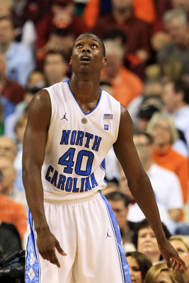 GREENSBORO, NC - MARCH 12:  Harrison Barnes #40 of the North Carolina Tar Heels reacts during the second half against the Clemson Tigers in the semifinals of the 2011 ACC men's basketball tournament at the Greensboro Coliseum on March 12, 2011 in Greensbo