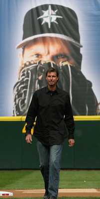 SEATTLE - APRIL 12:  Former Mariners star Randy Johnson walks on to the field to throw out the ceremonial first pitch prior to the Mariners' home opener against the Oakland Athletics at Safeco Field on April 12, 2010 in Seattle, Washington. The Athletics