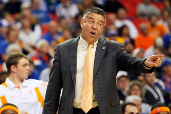 ATLANTA, GA - MARCH 10:  Head coach Bruce Pearl of the Tennessee Volunteers reacts during their game against the Arkansas Razorbacks in the first round of the SEC Men's Basketball Tournament at the Georgia Dome on March 10, 2011 in Atlanta, Georgia.  (Pho