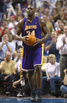 AUBURN HILLS, MI - JUNE 15:  Shaquille O'Neal #34 of the Los Angeles Lakers walks upcourt in the fourth quarter of game five of the 2004 NBA Finals against the Detroit Pistons on June 15, 2004 at The Palace of Auburn Hills in Auburn Hills, Michigan. The P