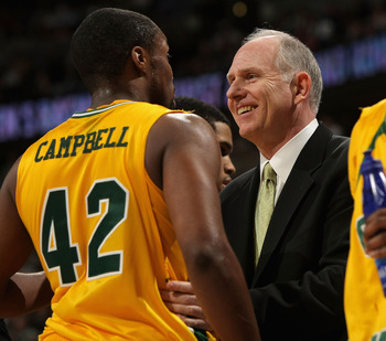DENVER - MARCH 20:  Head coach Jim Larranaga of the George Mason Patriots talks with Folarin Campbell #42 during the first round game of the East Regional against the Notre Dame Fighting Irish as part of the 2008 NCAA Men's Basketball Tournament at Pepsi