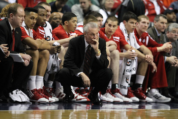 INDIANAPOLIS, IN - MARCH 11:  Head coach Bo Ryan of the Wisconsin Badgers looks on in the first half against the Penn State Nittany Lions during the quarterfinals of the 2011 Big Ten Men's Basketball Tournament at Conseco Fieldhouse on March 11, 2011 in I