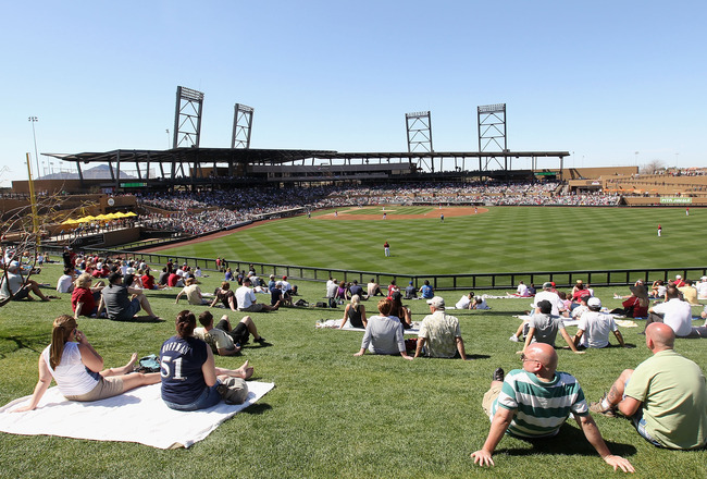SCOTTSDALE, AZ - MARCH 09:  Fans watch the spring training game between the Milwaukee Brewers and the Arizona Diamondbacks at Salt River Fields at Talking Stick on March 9, 2011 in Scottsdale, Arizona.  (Photo by Christian Petersen/Getty Images)