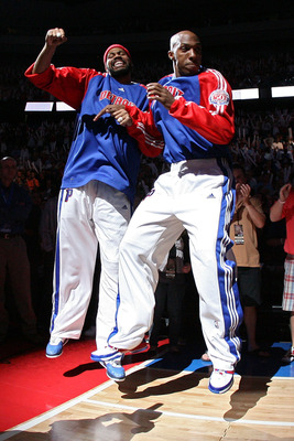 AUBURN HILLS, MI - MAY 30:  Rasheed Wallace #36 and Chauncey Billups #1 of the Detroit Pistons are introduced before taking on the Boston Celtics during Game Six of the Eastern Conference finals during the 2008 NBA Playoffs at the Palace of Auburn Hills o