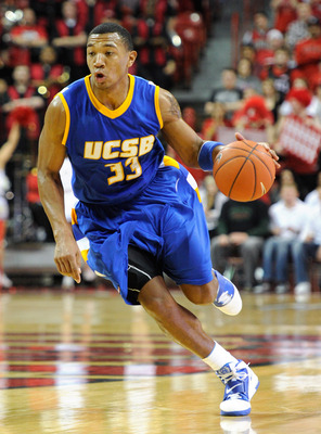 LAS VEGAS, NV - DECEMBER 15:  Orlando Johnson #33 of the UC Santa Barbara Gauchos drives against the UNLV Rebels during their game at the Thomas & Mack Center December 15, 2010 in Las Vegas, Nevada. UC Santa Barbara won 68-62.  (Photo by Ethan Miller/Gett