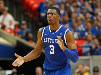 ATLANTA, GA - MARCH 13:  Terrence Jones #3 of the Kentucky Wildcats reacts against the Florida Gators in the championship game of the SEC Men's Basketball Tournament at Georgia Dome on March 13, 2011 in Atlanta, Georgia.  (Photo by Kevin C. Cox/Getty Imag