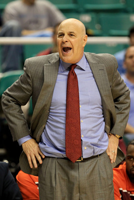 GREENSBORO, NC - MARCH 12:  Head coach Seth Greenberg of the Virginia Tech Hokies reacts during the second half against the Duke Blue Devils in the semifinals of the 2011 ACC men's basketball tournament at the Greensboro Coliseum on March 12, 2011 in Gree