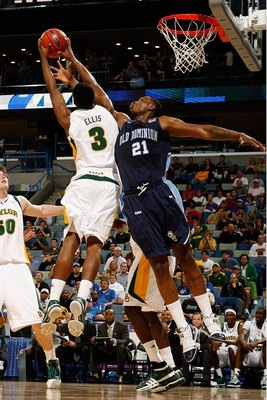 NEW ORLEANS - MARCH 20:  Frank Hassell #21 of the Old Dominion University Monarchs fights for a rebound with Fred Ellis #3 of the Baylor Bears during the second round of the 2010 NCAA men's basketball tournament at the New Orleans Arena on March 20, 2010