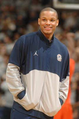 WASHINGTON, DC - FEBRUARY 26:  Chris Wright #4 of the Georgetown Hoyas looks on before a college basketball game against the Syracuse Orange on February 26, 2011 at the Verizon Center in Washington, DC.  (Photo by Mitchell Layton/Getty Images)