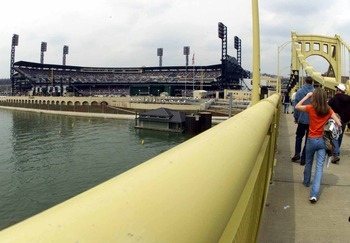 1 Apr 2001:   Fans walk across a bridge toward PNC Park prior to an exhibition game between the New York Mets and the Pittsburgh Pirates in Pittsburgh, Pennsylvania. Digital Image. Mandatory Credit: Jamie Squire/ALLSPORT