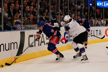 NEW YORK, NY - FEBRUARY 17:  Marian Gaborik #10 of the New York Rangers controls the puck from Drew Doughty #8 of the Los Angeles Kings at Madison Square Garden on February 17, 2011 in New York City.  (Photo by Chris Trotman/Getty Images)