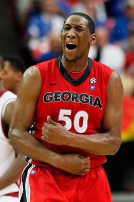ATLANTA, GA - MARCH 11:  Jeremy Price #50 of the Georgia Bulldogs reacts to a call during the second half of their game against the Alabama Crimson Tide in the quarterfinals of the SEC Men's Basketball Tournament at Georgia Dome on March 11, 2011 in Atlan