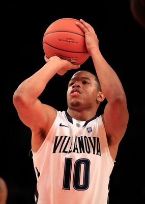 NEW YORK, NY - MARCH 08: Corey Fisher #10 of the Villanova Wildcats shoots a free throw against the South Florida Bulls during the first round of the 2011 Big East Men's Basketball Tournament presented by American Eagle Outfitters at Madison Square Garden