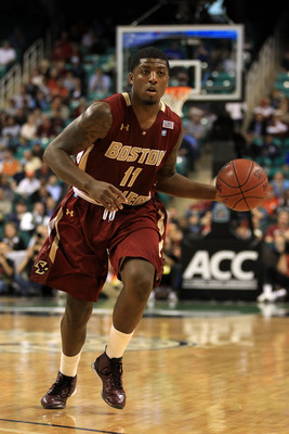 GREENSBORO, NC - MARCH 11:  Corey Raji #11 of the Boston College Eagles moves the ball against the Clemson Tigers during the second half in the quarterfinals of the 2011 ACC men's basketball tournament at the Greensboro Coliseum on March 11, 2011 in Green