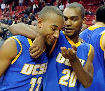 LAS VEGAS, NV - DECEMBER 15:  Justin Joyner #11 and Will Brew #20 of the UC Santa Barbara Gauchos celebrate their 68-62 win over the UNLV Rebels at the Thomas & Mack Center December 15, 2010 in Las Vegas, Nevada.  (Photo by Ethan Miller/Getty Images)