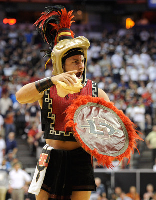 LAS VEGAS, NV - MARCH 12:  San Diego State Aztecs mascot Aztec Warrior is filmed on the court during the championship game of the Conoco Mountain West Conference Basketball tournament against the Brigham Young University Cougars at the Thomas & Mack Cente