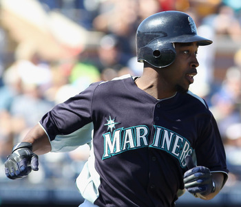 PEORIA, AZ - MARCH 04:  Chone Figgins #9 of the Seattle Mariners runs to first base during the spring training game against the Cincinnati Reds at Peoria Stadium on March 4, 2011 in Peoria, Arizona.  (Photo by Christian Petersen/Getty Images)