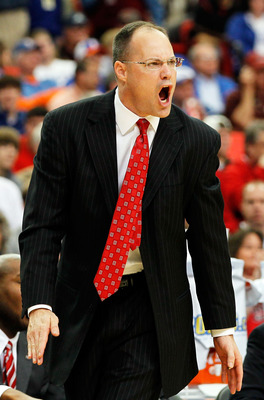 ATLANTA, GA - MARCH 11:  Head coach Mark Fox of the Georgia Bulldogs reacts during their game against the Alabama Crimson Tide in the quarterfinals of the SEC Men's Basketball Tournament at Georgia Dome on March 11, 2011 in Atlanta, Georgia.  (Photo by Ke