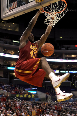 LOS ANGELES, CA - MARCH 11:  Marcus Simmons #43 of the USC Trojans dunks the ball in the first half while taking on the Arizona Wildcats in the semifinals of the 2011 Pacific Life Pac-10 Men's Basketball Tournament at Staples Center on March 11, 2011 in L