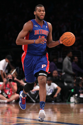 LOS ANGELES, CA - FEBRUARY 18:  Greg Monroe #10 of the Detroit Pistons and the Rookie Team moves the ball up court in the first half during the T-Mobile Rookie Challenge and Youth Jam at Staples Center on February 18, 2011 in Los Angeles, California.  (Ph