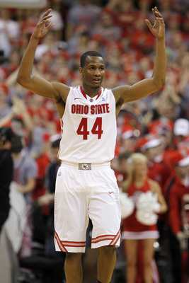 COLUMBUS, OH - FEBRUARY 15: William Buford reacts after a play during the second half against the Michigan State Spartans on February 15, 2011 at Value City Arena in Columbus, Ohio.  (Photo by Gregory Shamus/Getty Images)