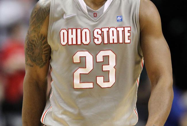 INDIANAPOLIS, IN - MARCH 13:  David Lighty #23 of the Ohio State Buckeyes reacts against the Penn State Nittany Lions during the championship game of the 2011 Big Ten Men's Basketball Tournament at Conseco Fieldhouse on March 13, 2011 in Indianapolis, Ind