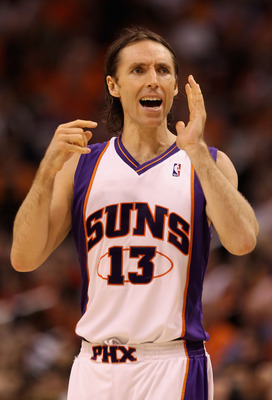 PHOENIX - APRIL 20:  Steve Nash #13 of the Phoenix Suns yells to a teamamte during Game Two of the Western Conference Quarterfinals of the 2010 NBA Playoffs against the Portland Trail Blazers at US Airways Center on April 20, 2010 in Phoenix, Arizona. NOT