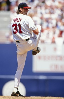 ANAHEIM, CA - JULY 11: Chuck Finley #31 of the California Angels pitches against the New York Yankees during their game at Anaheim Stadium on July 11, 1993 in Anaheim, California. (Photo by Jonathan Daniel/Getty Images)