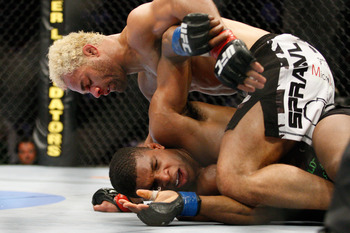 MONTREAL- MAY 8: Josh Koscheck (top) stands on Paul Daley in their welter weight bout at UFC 113 at Bell Centre on May 8, 2010 in Montreal, Quebec, Canada.  (Photo by Richard Wolowicz/Getty Images)