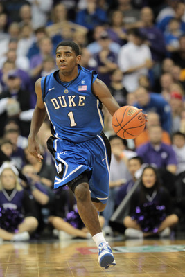 KANSAS CITY, MO - NOVEMBER 23:  Kyrie Irving #1 of the Duke Blue Devils in action during the CBE Classic game against the Kansas State Wildcats on November 23, 2010 at the Sprint Center in Kansas City, Missouri.  (Photo by Jamie Squire/Getty Images)