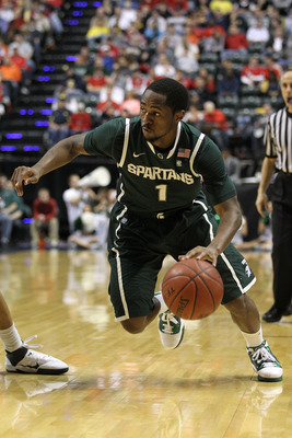 INDIANAPOLIS, IN - MARCH 12:  Kalin Lucas #1 of the Michigan State Spartans drives against Penn State Nittany Lions during the semifinals of the 2011 Big Ten Men's Basketball Tournament at Conseco Fieldhouse on March 12, 2011 in Indianapolis, Indiana.  (P