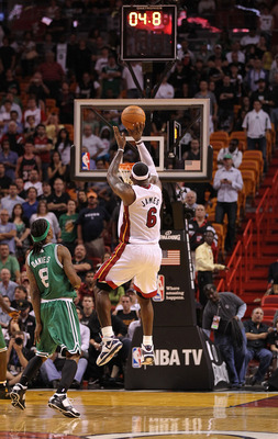 MIAMI - NOVEMBER 11:  LeBron James #6 of the Miami Heat takes the final shot before losing a game against the Boston Celtics at American Airlines Arena on November 11, 2010 in Miami, Florida. NOTE TO USER: User expressly acknowledges and agrees that, by d